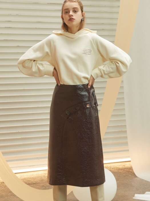 highwaited faux leather skirt