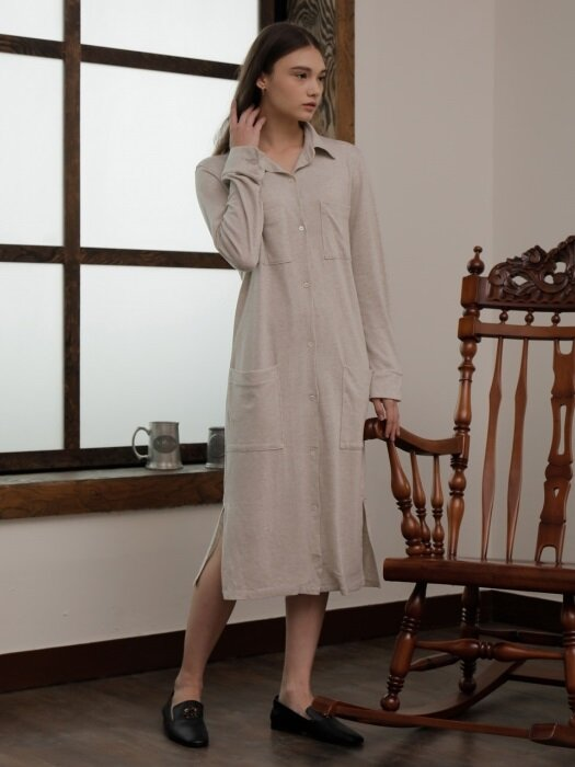 CARDIGAN ONE-PIECE_BEIGE