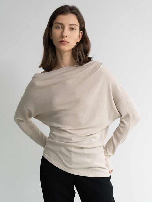 ASYMMETRIC LONG-SLEEVE TOP (BEIGE)