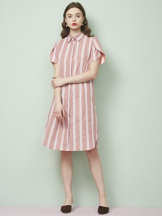 TULIP SLEEVE SHIRTS DRESS _ PINK