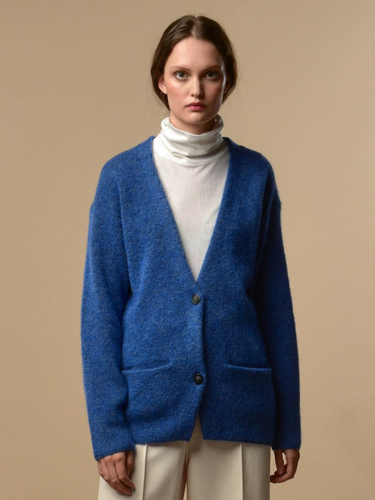 [FW19]Mohair Curved Sleeve Cardigan (Blue Iris)