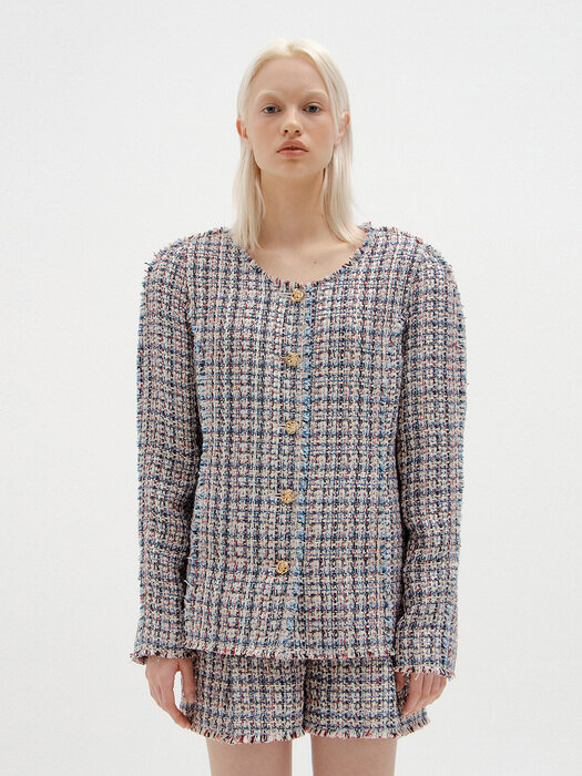 SYLVIA Round-Neck Tweed Jacket - Blue Multi Check
