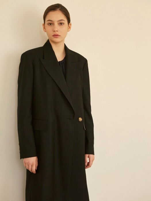 19SS PEAKED COLLAR BELTED COAT BLACK CHECK
