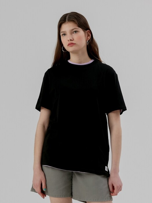 Basic Half Sleeve T shirt [Black]