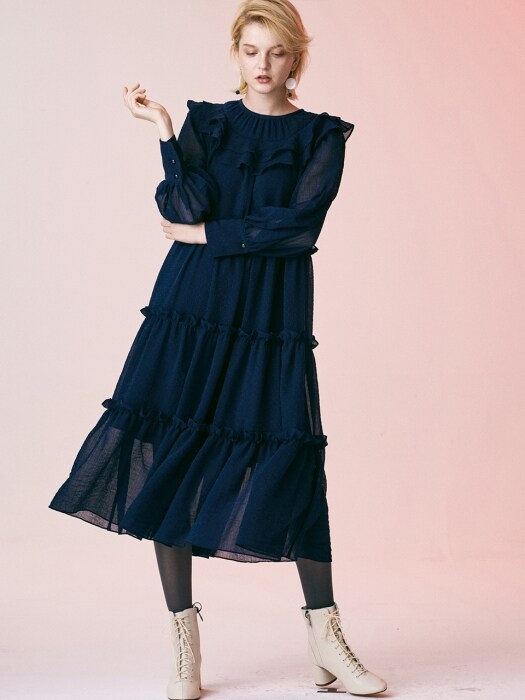 COLOR POINT ALL SHIRRING DRESS_NAVY