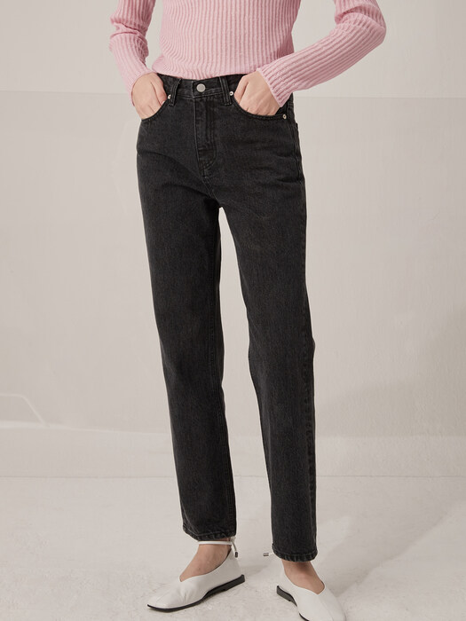 Greyish washing denim pants - Black