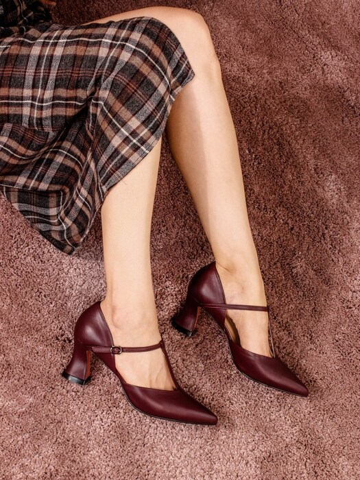 T-strap Pumps(Wine)