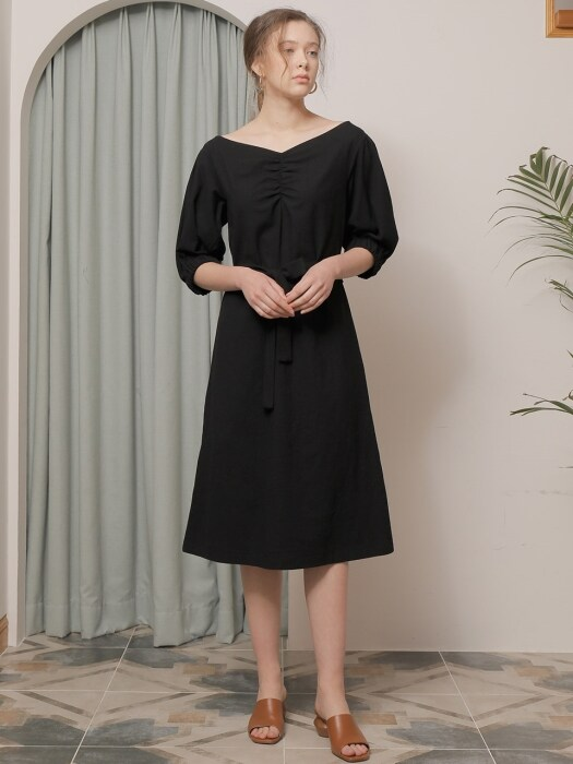 LINEN PUFF SLEEVE ONE-PIECE_BLACK