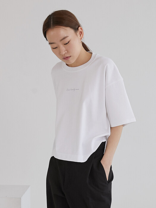 Boxy cropped T shirt_White