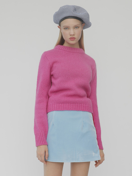 [UNISEX]R HAIR COLOR KNIT_PINK