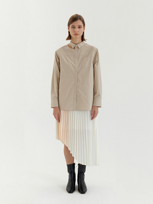 Wing Collar Cut-Out Shirt - Beige
