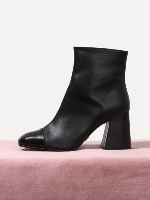 71865bk Samantha Glossy Front ankle boots
