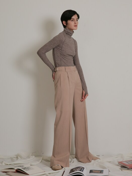 SEMI-WIDE SLIT PANTS_PINK BEIGE