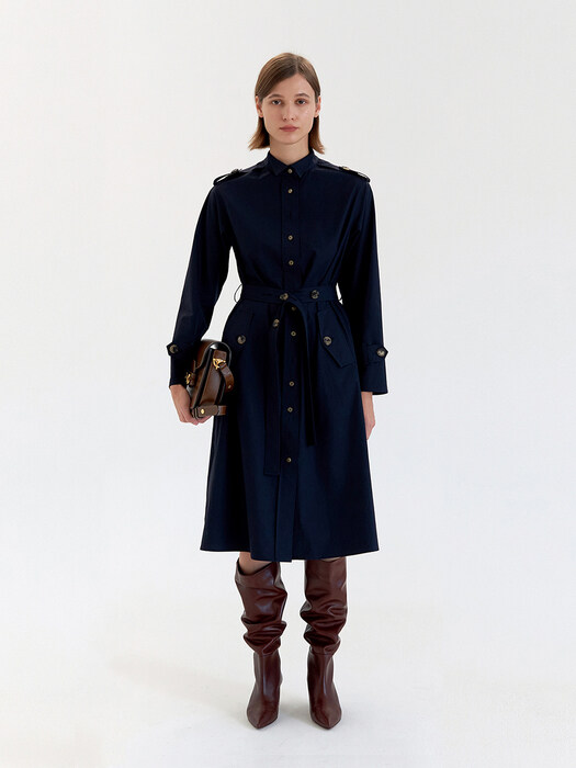 Wing Collar Trench Dress - Navy