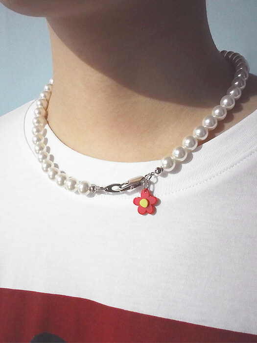 flower pearl necklace (red)