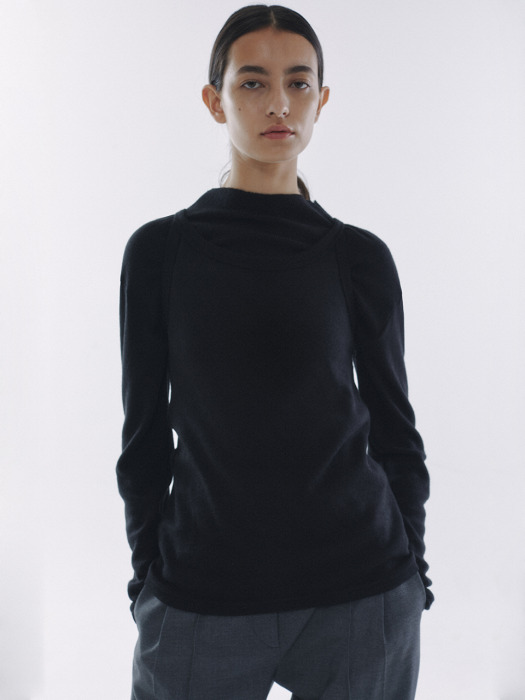 2Way Knitted Jersey Set Top Black