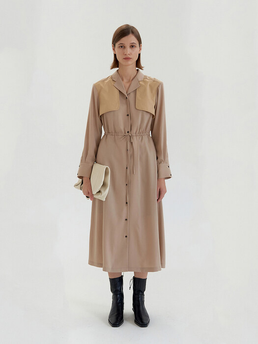 Trench Coat Dress - Beige