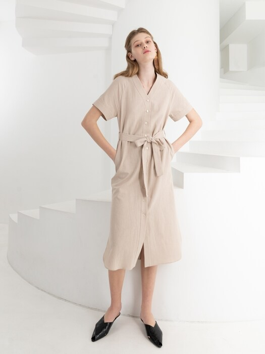LINEN FRONT BUTTON DRESS . BEIGE