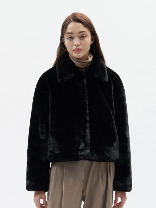 FUR CROP JACKET WOMEN [BLACK]