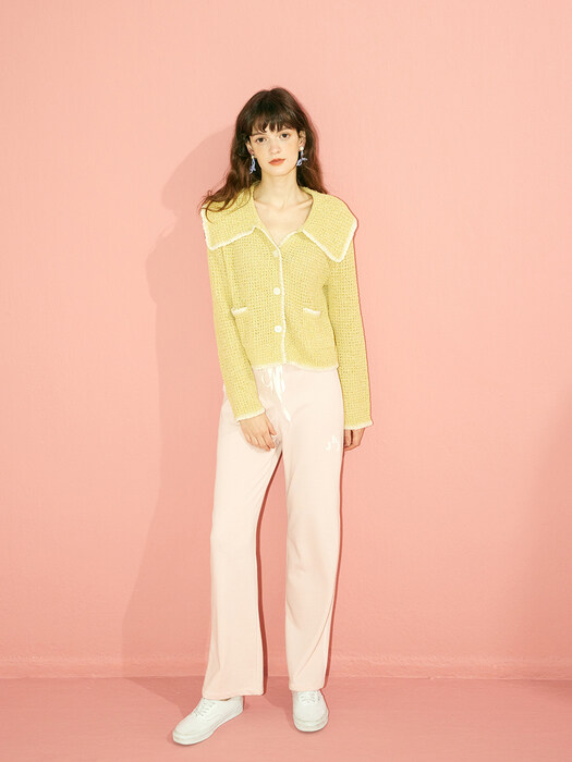 WIDE COLLAR CARDIGAN - YELLOW