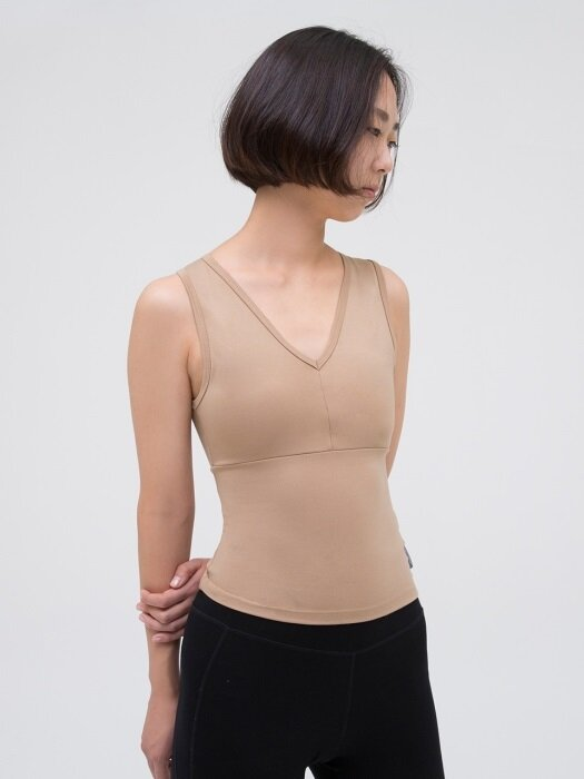 V Neck Tank Top-Beige
