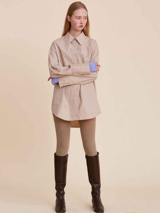 V449 COATING OVERSIZE SHIRTS_BEIGE