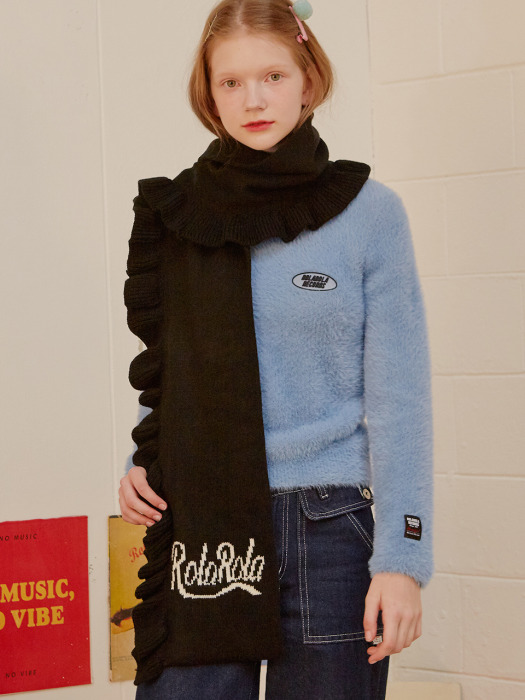(MF-19739) RUFFLE KNIT MUFFLER BLACK