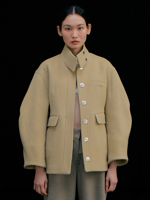 Round Half Coat_Light Beige