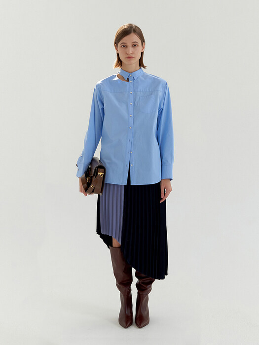 Wing Collar Cut-Out Shirt - Blue