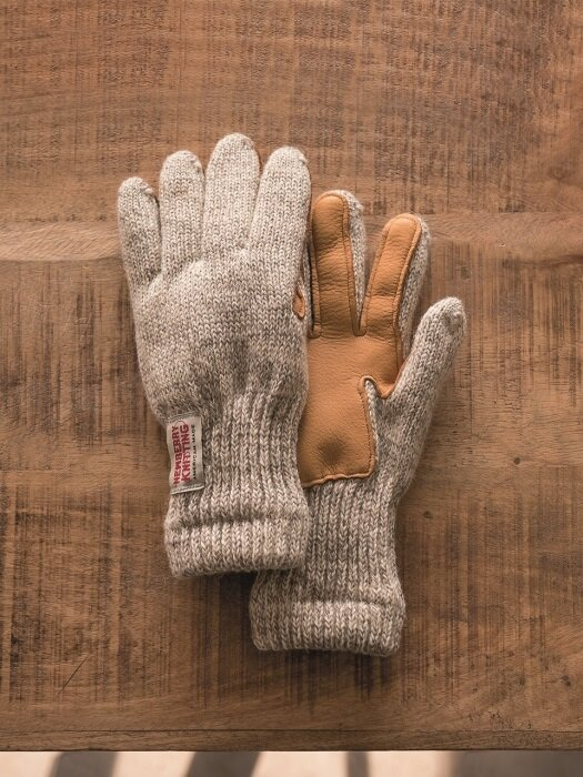 Lined Leather Palm Glove, Traditional Grey