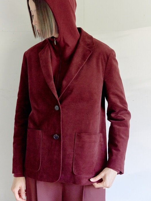 WINE VELVET LIKE CORDUROY JACKET