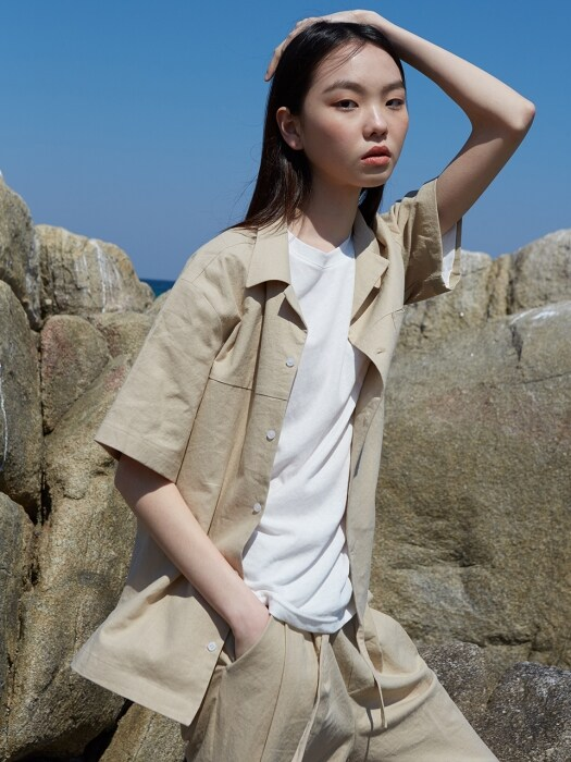 LINEN OPEN COLLAR SHIRT_sand beige