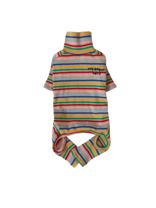 Rainbow stripe all in one (beige)
