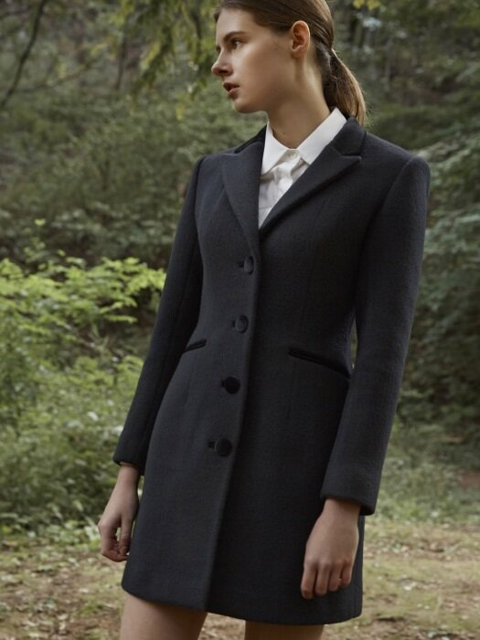 BLACK VELVET WOOL COAT