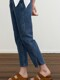 SLIT DENIM PANTS - BLUE