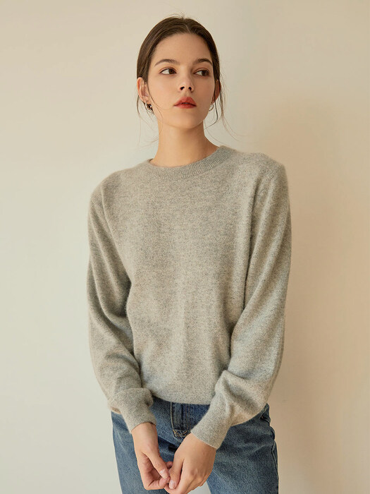 simple round fox knit[gray]