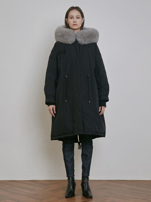 FOX FUR HOODED GOOSE DOWN  LONG JUMPER