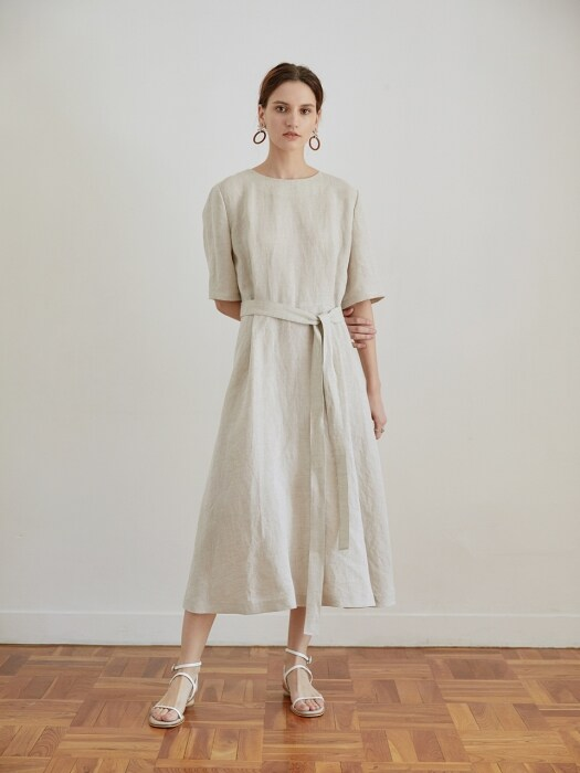 Natural Linen belted long one-piece