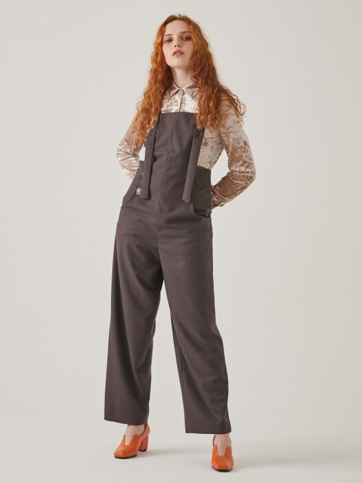 BUTTON DETAILED OVERALLS TFWPT-094-BR