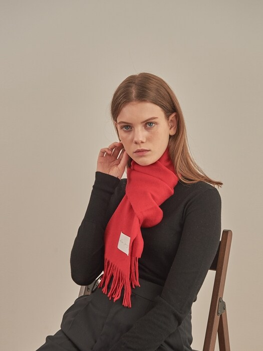 LAMBS WOOL 100 MUFFLER [RED]
