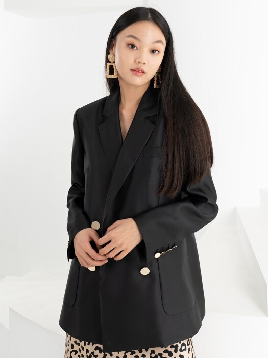 OVERSIZE DOUBLE JACKET . BLACK