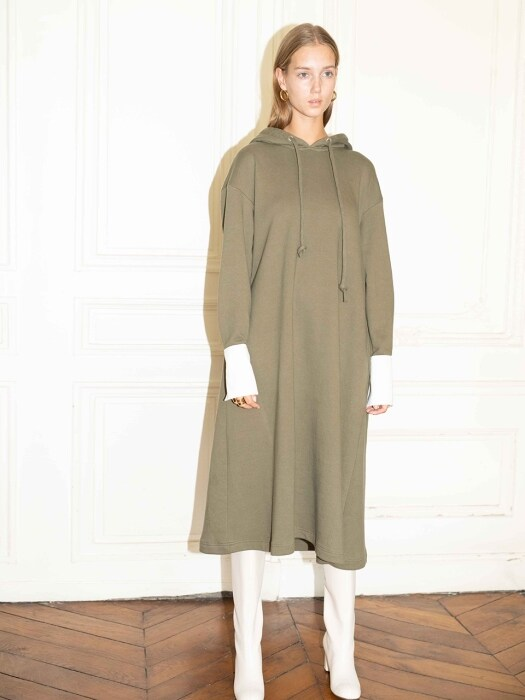 BRISBANE oversized hoodie dress_Olive