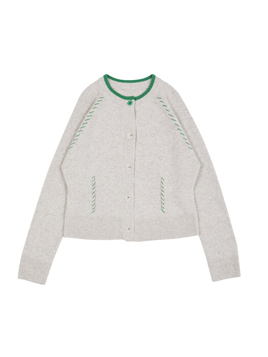[EXCLUSIVE] Hand Stitch Knit Cardigan oatmeal & green