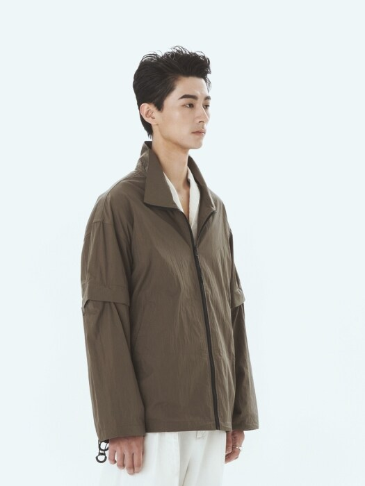 High-Neck Zip-Up Jacket Olive