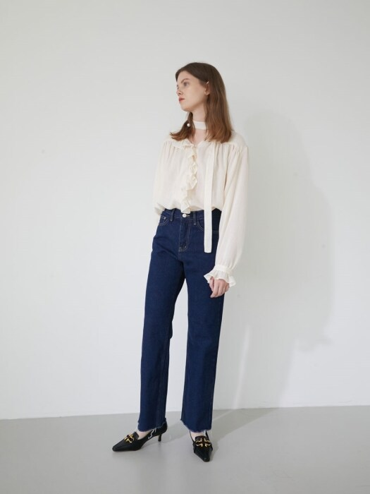 19' WINTER_CREAM HERRINGBONE TIE BLOUSE