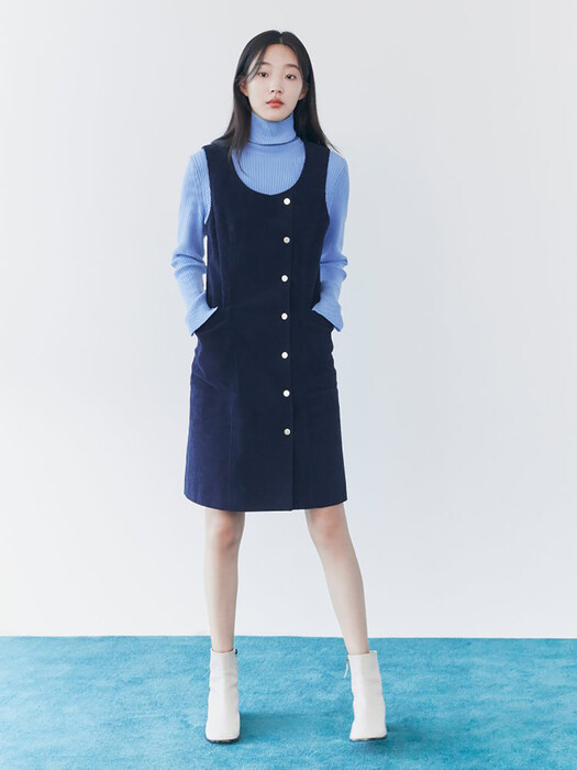 Corduroy Sleeveless Dress - Navy (KE0X71M01R)