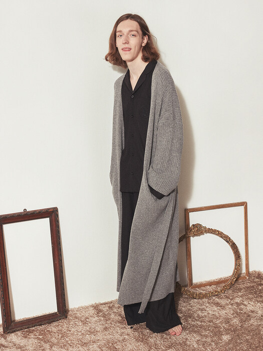 CASHMERE KNIT ROBE COAT_Grey(man)