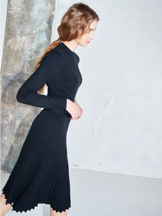 [단독] Flared rib knit dress #Black