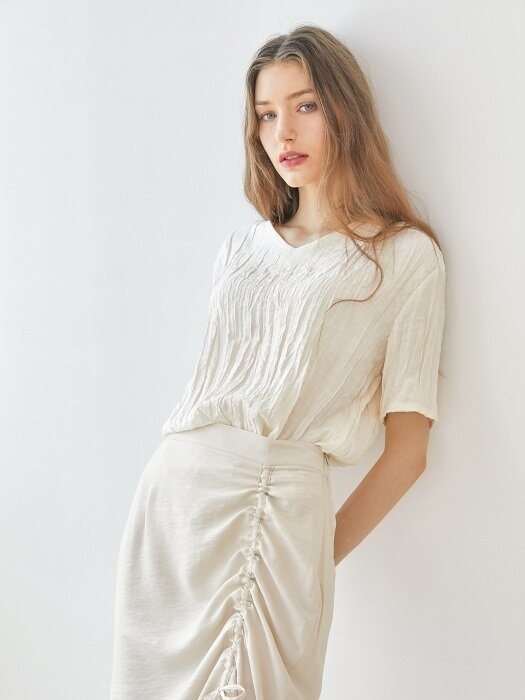 Wrinkle blouse - Beige