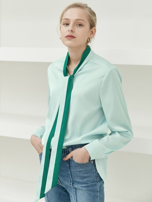 color block tie blouse Green